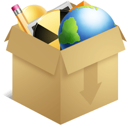 Drawn cardboard box with pencil, globe warning sign, plus more to represent miscellaneous thingsfree icon