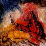 "Marc Chagall (Russian-born French painter, 1887-1985), ""Abraham Slaying Isaac,"" Huile sur toile"