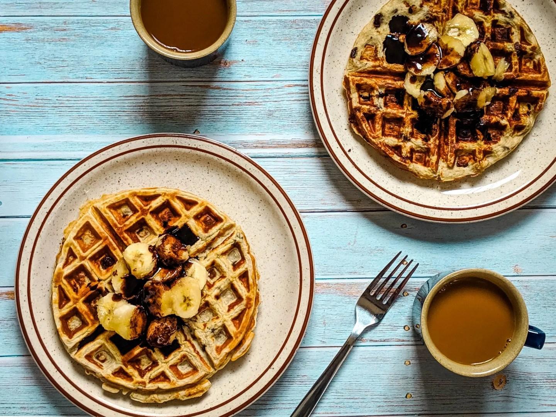 banana chocolate chip protein waffles