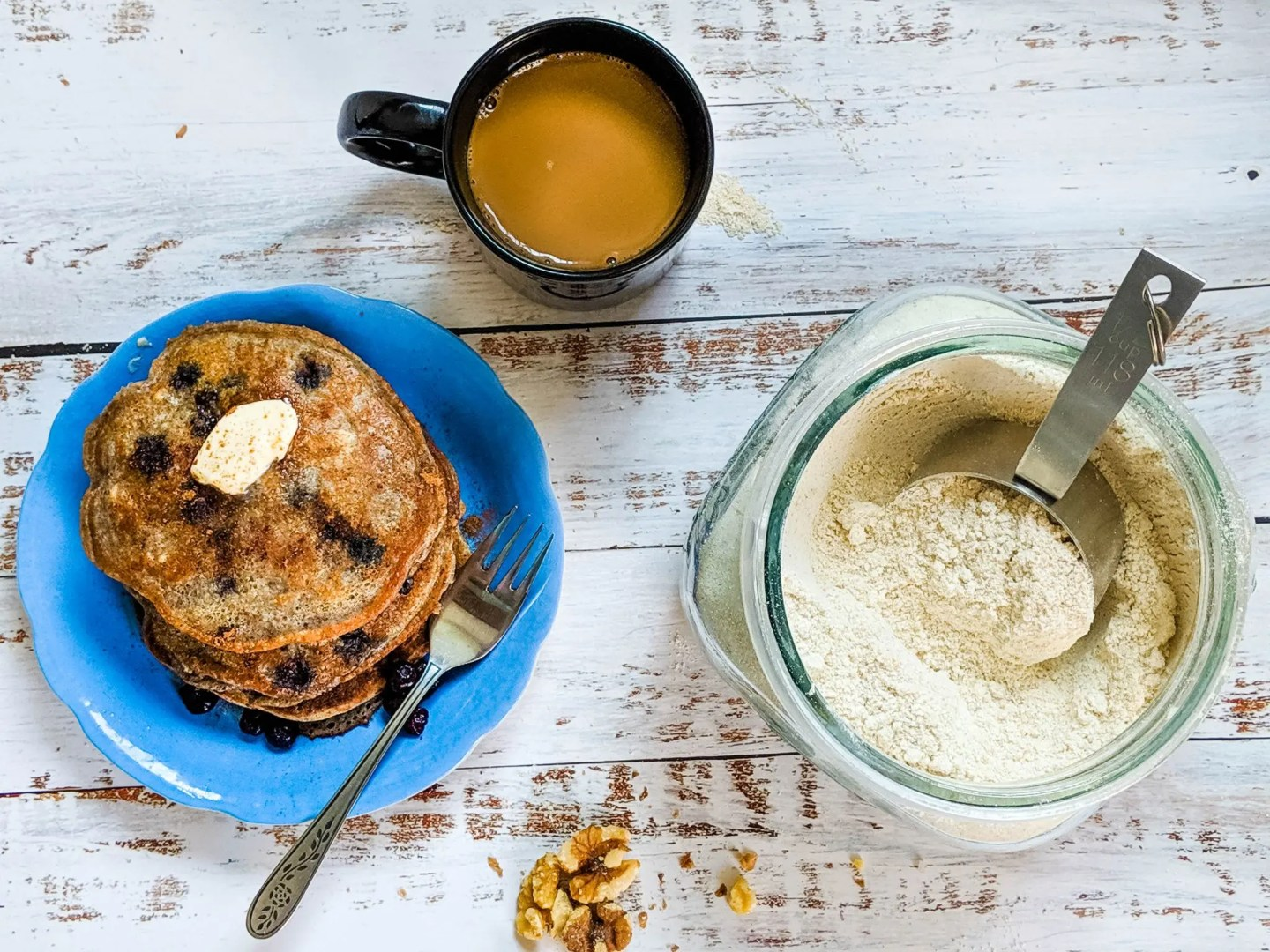 protein pancake mix with pancakes and coffee