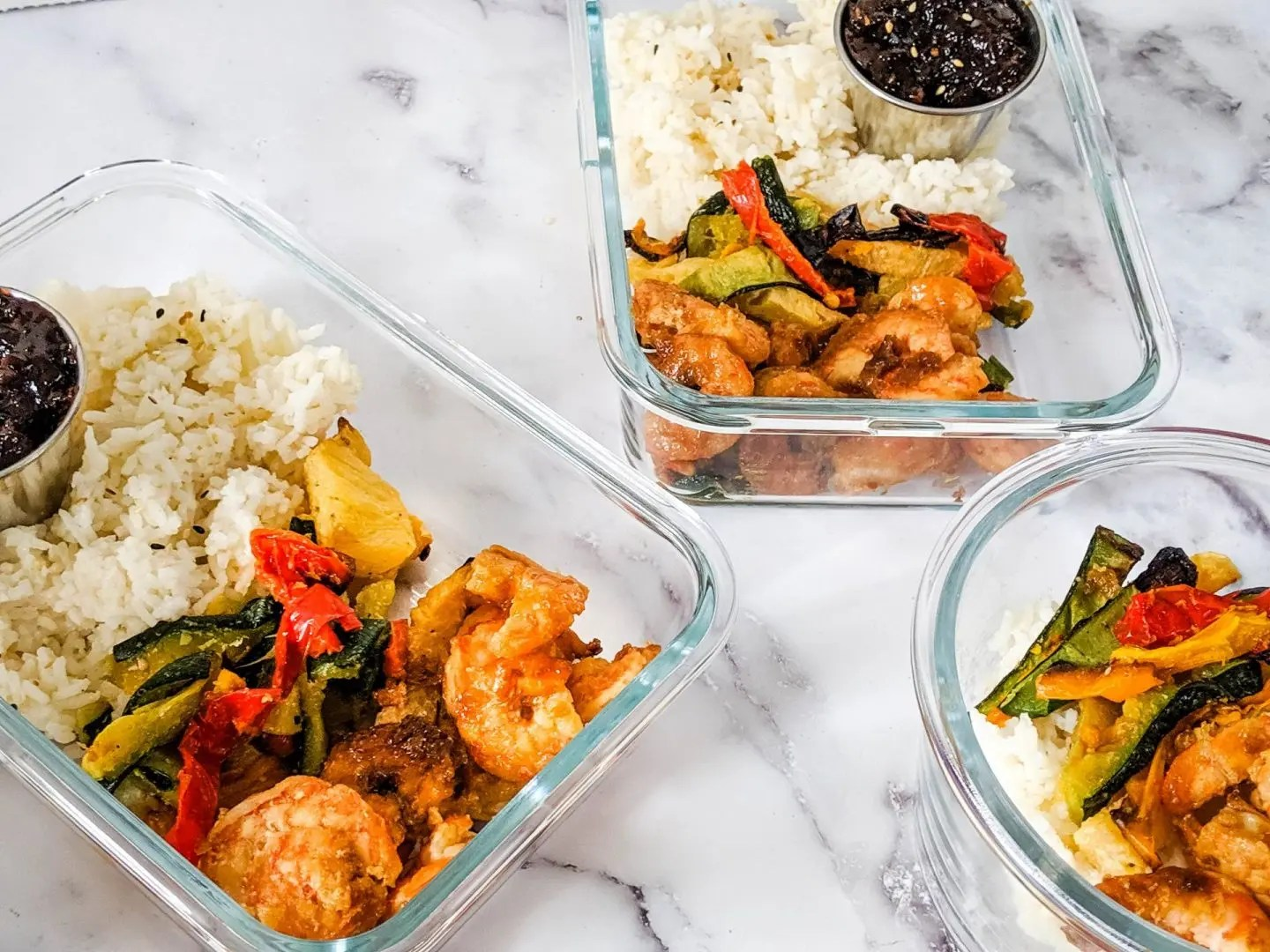 Teriyaki Shrimp Bowl With Coconut Rice And Grilled