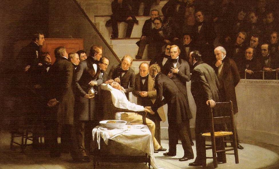 Primo prova di intervento chirurgico con anestesia con etere - 1846, Ospedale del Massachusetts.