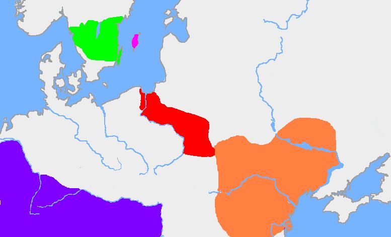 In arancione la zona di estensione della cultura di Černjachov, mentre in rosso l'estensione della più antica cultura di Wielbark.