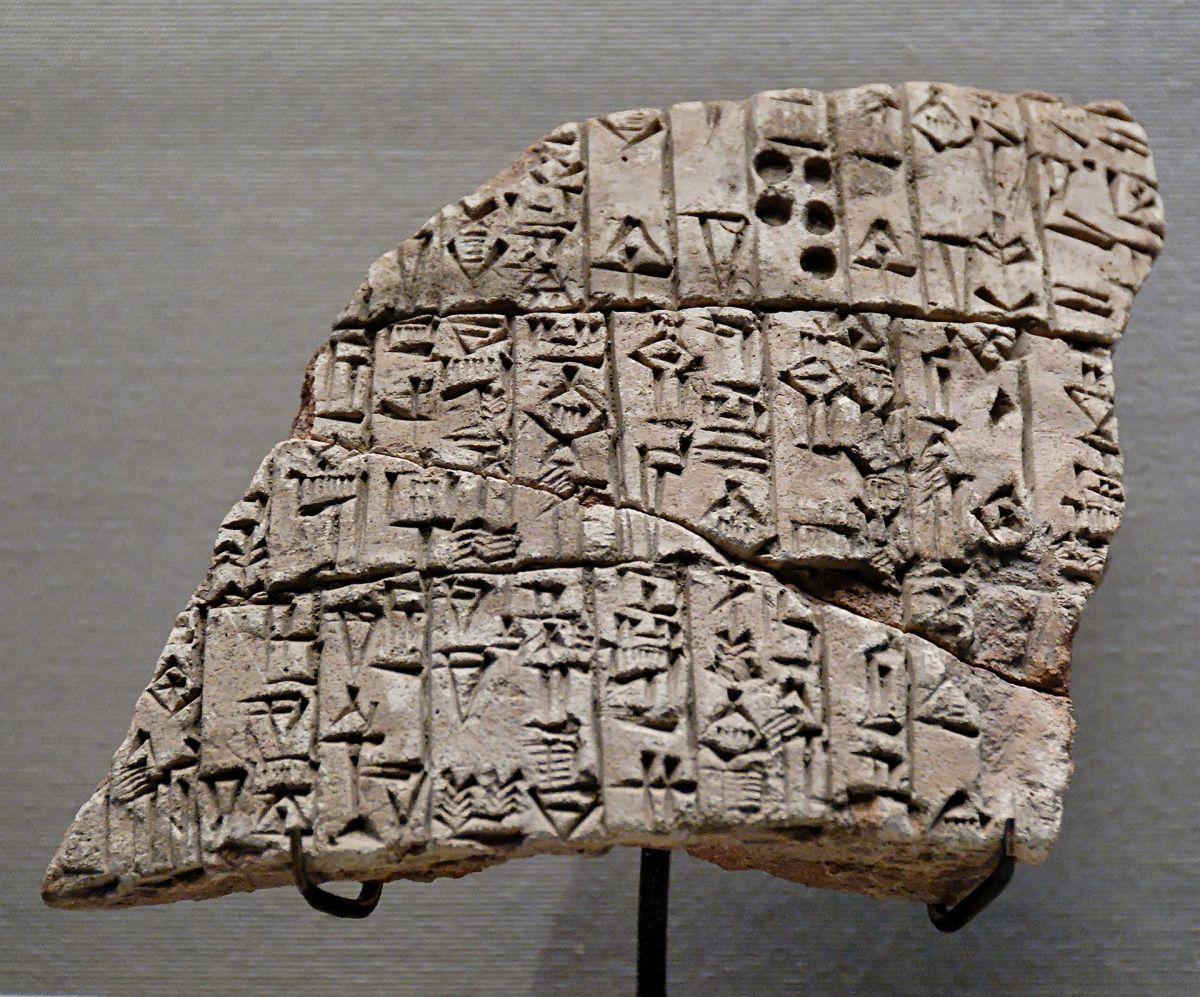 Frammento delle tavolette di Urukagina, risalenti al 2350 aC (III millennio). Immagine presa da questa url