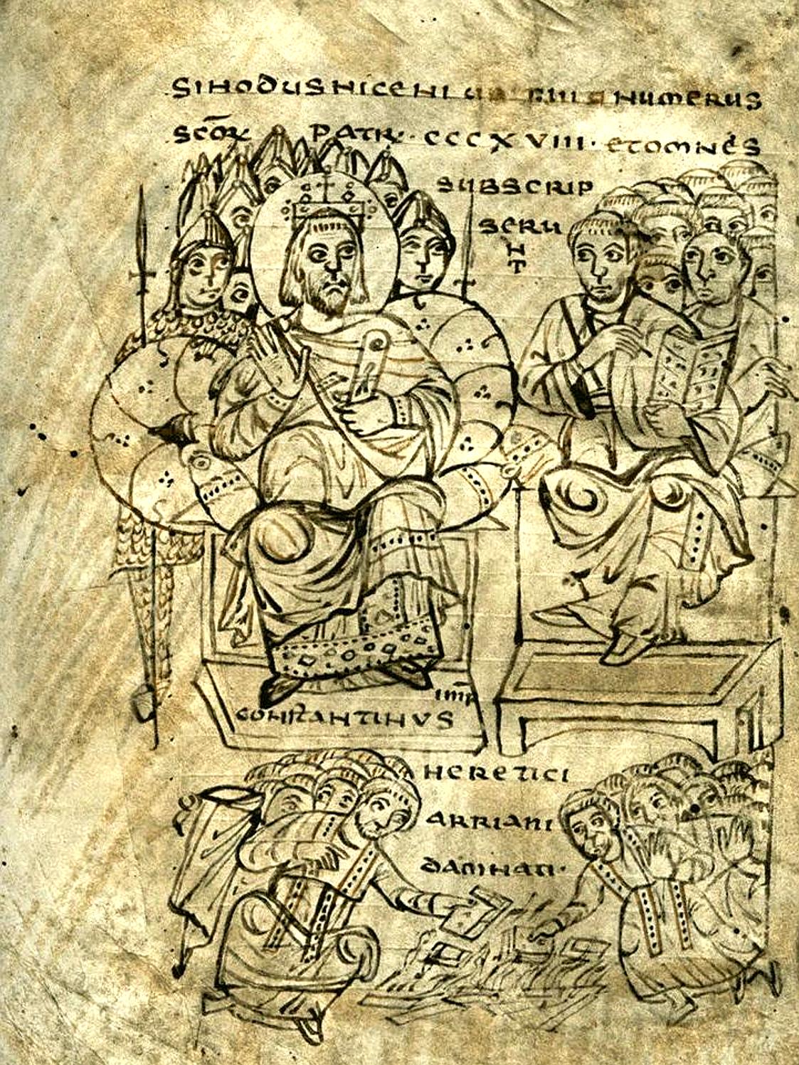 Costantino fa bruciare i libri ariani, ritenute eretiche nel Concilio di Nicea. Illustrazione del IX secolo.