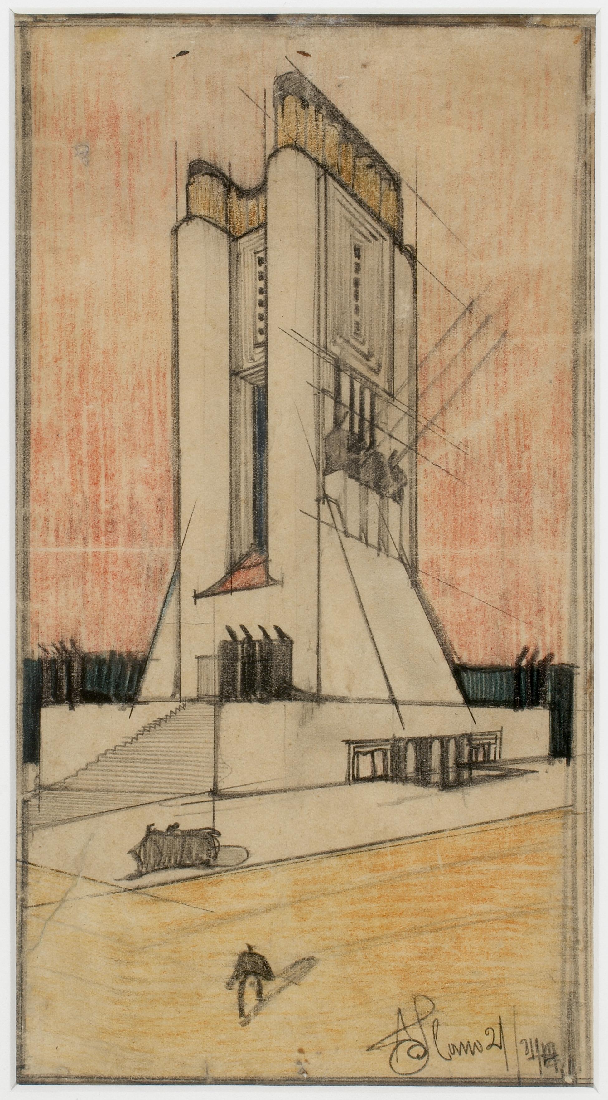 Disegno di Sant'Elia per il Monumento ai Caduti