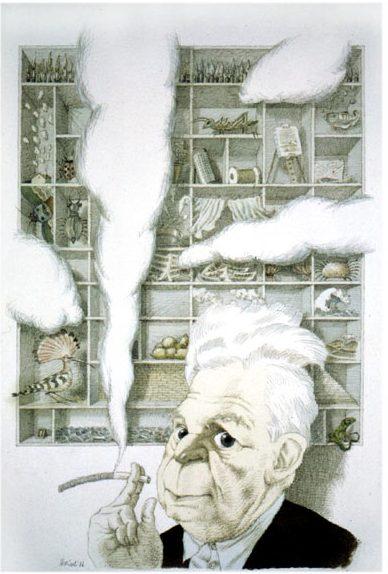 Tullio Pericoli, Eugenio Montale, acquerello e inchiostro su carta, 1986. Immagine reperibile a questa URL
