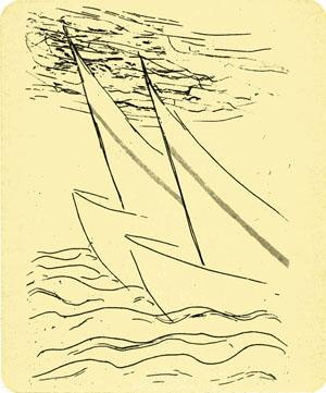 Riproduzione di un'acquaforte d Fausto Melotti dal volume W.B. Yeats-Montale del 1986.