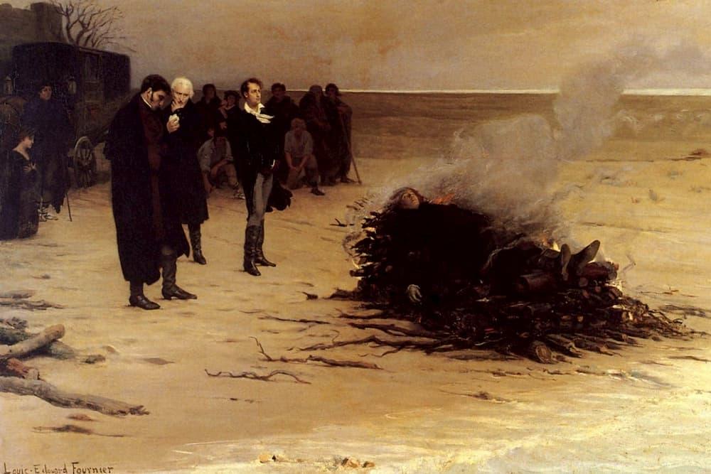 Il funerale di Percy Bysshe Shelley di Louis Edouard Fournier. Sullo sfondo si riconoscono Byron, con il foulard bianco, e Mary, in ginocchio. Immagine reperibile a
