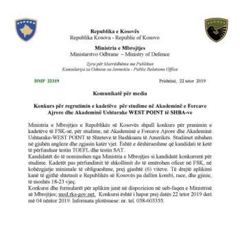 Ministria e Mbrojtjes shpall konkurs për studime në SHBA