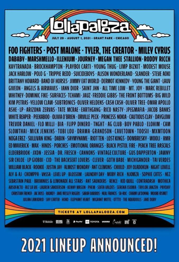 Lollapalooza Chicago 2021 - lineup