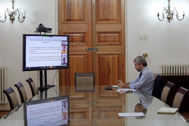 Este martes, el ministro del Interior y Seguridad Pública, Gonzalo Blumel, encabezó una nueva reunión virtual de la Mesa Social por COVID-19. Foto: Ministerio del Interior.