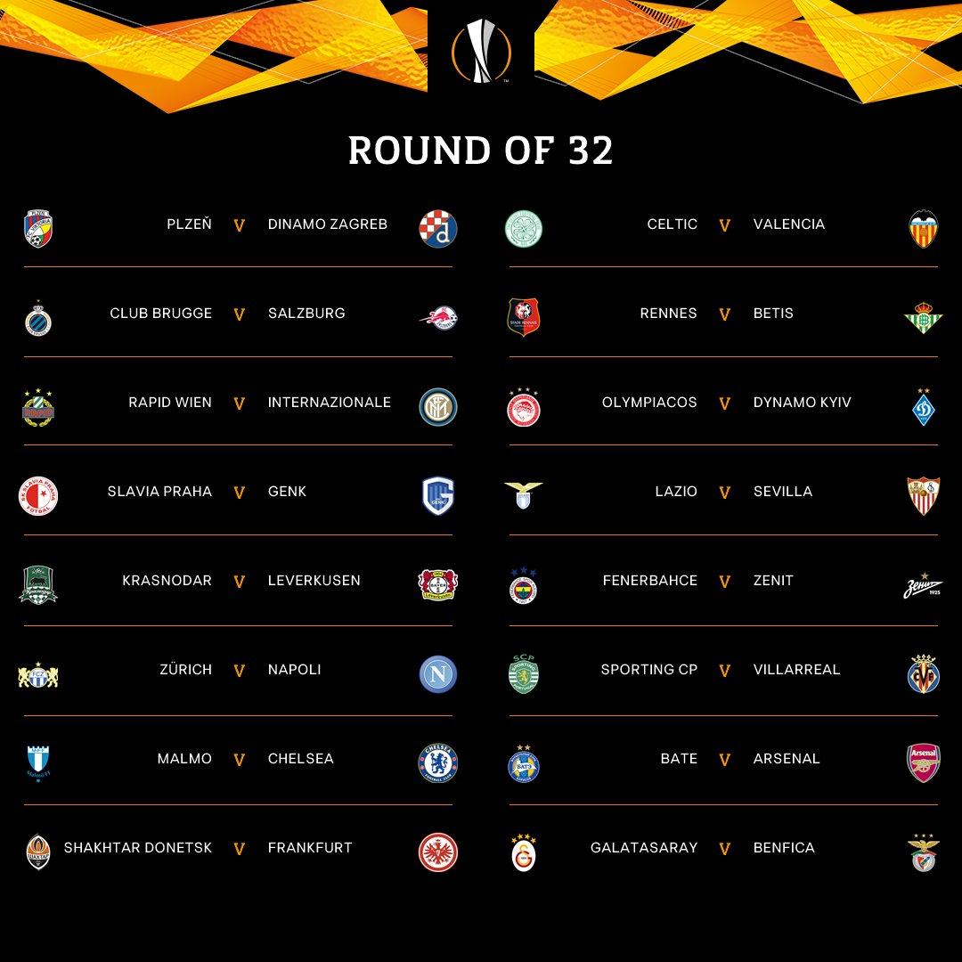 ASÍ QUEDARON LOS CRUCES EN LA UEFA EUROPA LEAGUE 2018/19