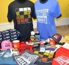 Photo of all new Radio Boise merch items