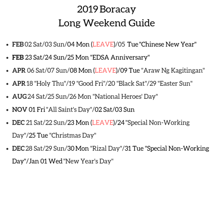 2018 Boracay Long Weekend Guide