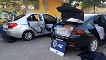 Camarão contrabandeado é transportado em carros se...