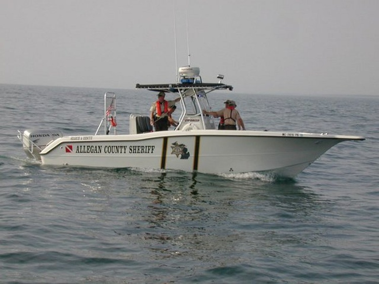 Allegan County Sheriff's Marine Officers on patrol in Lake Michigan (photo courtesy Allegan Co. Sheriff's Dept.)