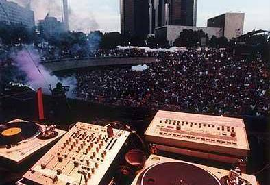 Detroit Electronic Music Festival - DJ view with players and crowd at festival