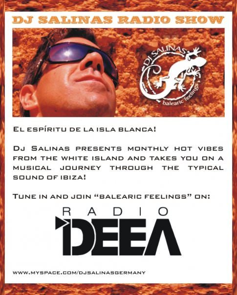 balearic feelings radio show -flyer with DJ Salinas face and logo