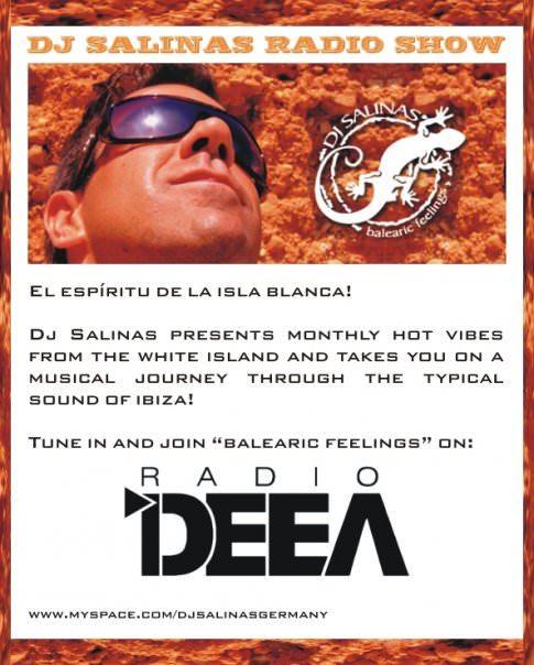 balearic feelings radio show -flyer with DJ Salinas face and logo