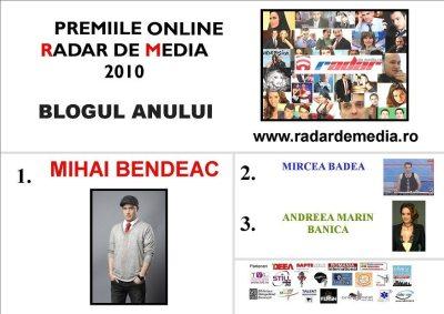 BLOGUL ANULUI - premiile radar de media 2010 editia nr 2