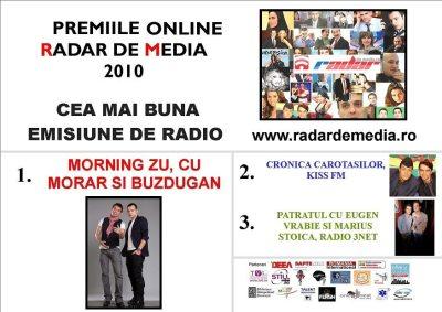CEA MAI BUNA EMISIUNE DE RADIO- premiile radar de media 2010 editia nr 2