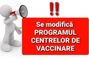 De azi, se modifică programul Centrelor de vaccinare din județ
