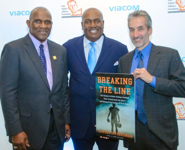 l-r Harry Carson,  Pro Football  Hall a Famer and Executive Director of FPA organization; James Shack Harris, NFL's First African American Starting QB and  current Detroit Lions Senior Personnel ;  Samuel G. Freedman, author of BREAKING  THE LINE: The Season in Black College Football That Transformed the Sport and Changed the Course of Civil Rights