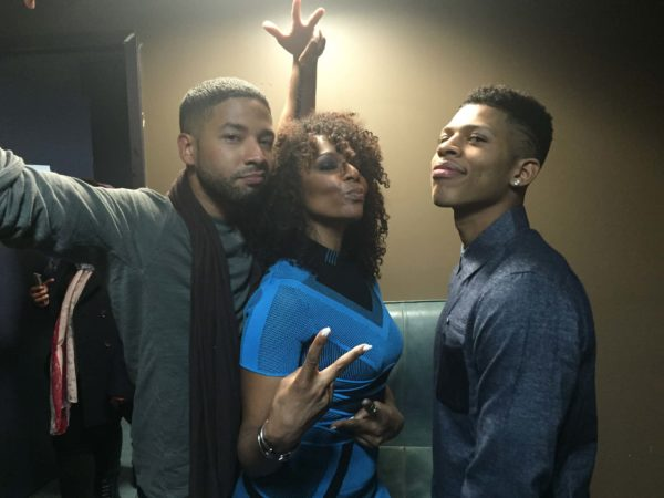 Jasmine Saunders hangs out with Jussie Smollett and Bryshere Y. Gray from Empire 3