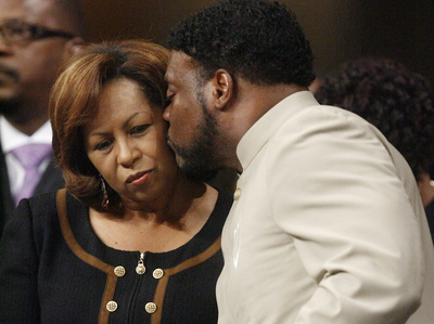 Sunday, Sept. 26, 2010, at New Birth Missionary Baptist Church near Atlanta. Bishop Eddie Long, the famed pastor of a Georgia megachurch said Sunday that he will fight allegations that he lured young men into sexual relationships, stressing that he'd be back to lead the church the next week (AP Photo/John Amis, Pool)