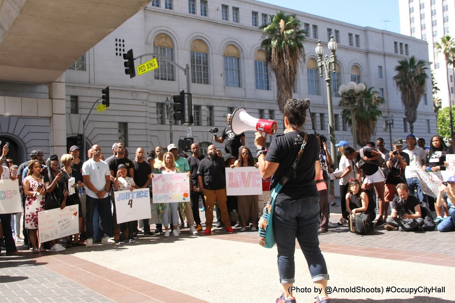 LOS ANGELES, CA -JULY 17: _ _ _ _ members of Black Hollywood seen at #OccupyCityHall Movement in Support of All Initiatives to Invoke Change on Sunday, July 17, 2016 at City Hall in Los Angeles, California. (Photo by @ArnoldShoots)