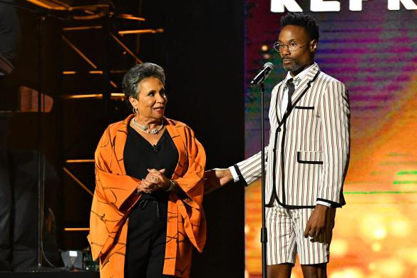 Host and Radio One, Inc. Founder and Chairperson Cathy Hughes and Billy Porter at the URBAN ONE HONORS on Thursday, December 5, 2019 in Oxon Hill, MD at the MGM National Harbor.