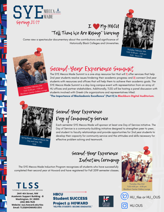 Second Year Experience - Mecca Made - Howard University Event Flyer