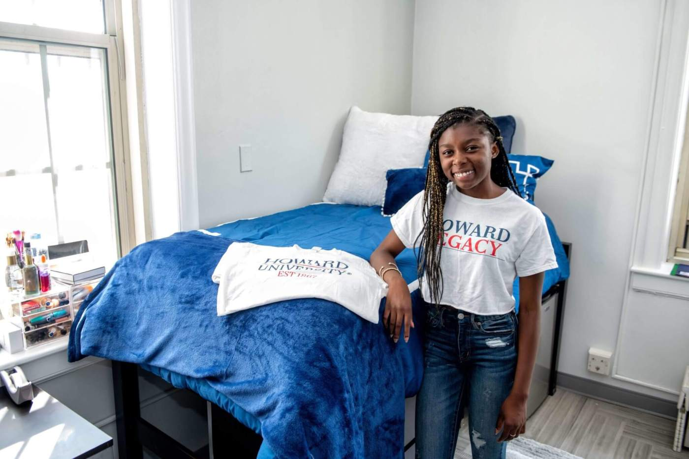 New student, KenaMaat inside her dorm at Howard University.