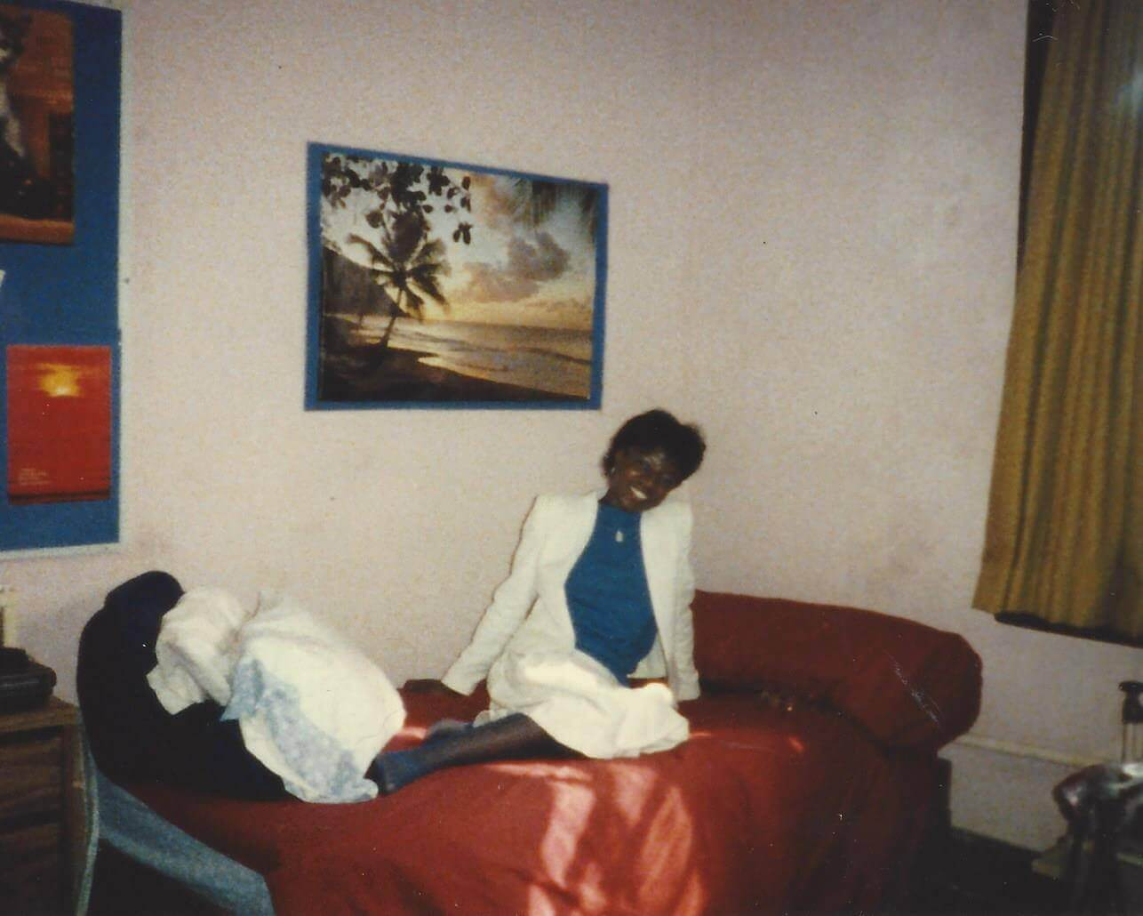 NMaat (mom) inside The Quad in her white suit in 1985-86