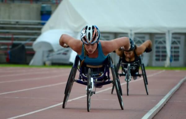 Jill Moore at IUPUI Carroll Stadium, photo from Illinois Wheelchair Athletics