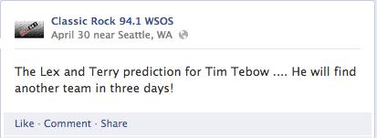 WSOS Facebook Status Classic Rock 94.1 Jacksonville Lex Terry