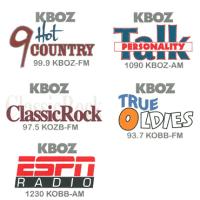 Reier Broadcasting KBOZ 1090 ESPN 1230 KOBB Country 99.9 KBOZ-FM Rock 97.5 KOZB Oldies 93.7 KOBB-FM Bozeman
