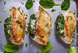 Spinach and feta stuffed peri-peri chicken fillet