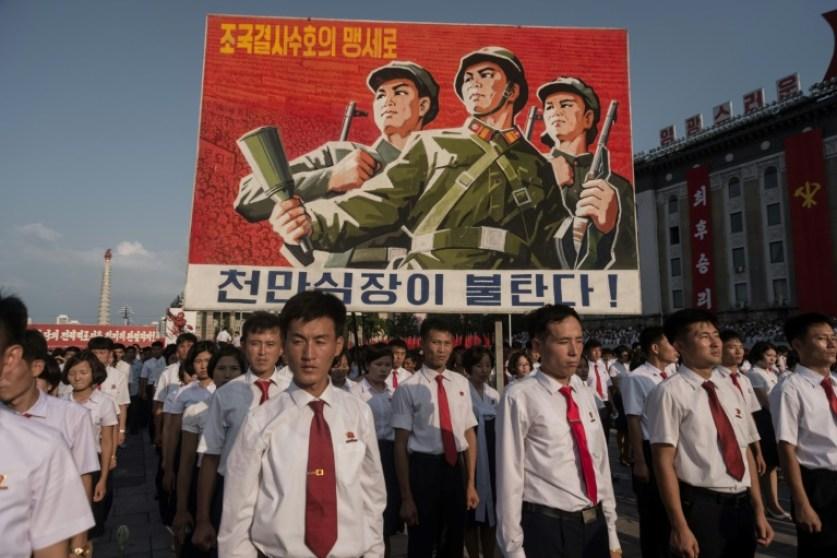 Una manifestación a favor de la posición norcoreana con respecto a EEUU, el 9 de agosto de 2017 en la plaza de Kim Il-sung, en Pyongyang AFP / Kim Won-jin