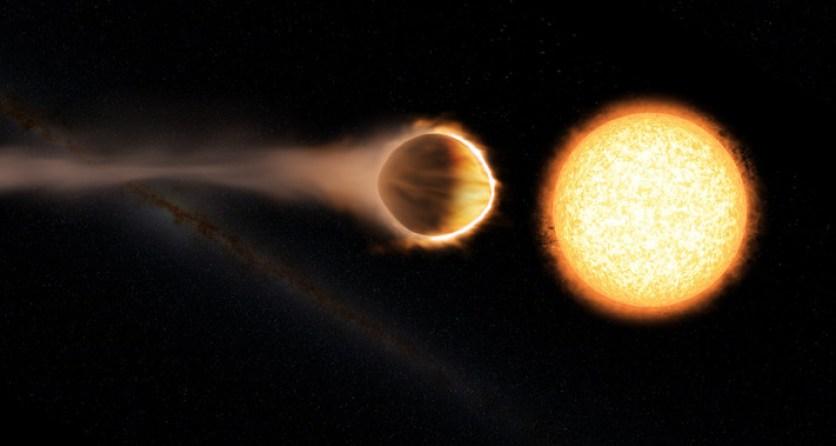 """Imagen artística del planeta WASP 121b. La forma """"abombada"""" del planeta es debida a las intensas fuerzas de marea que ejerce la estrella. / Engine House VFX, At-Bristol Science Centre, University of Exeter"""