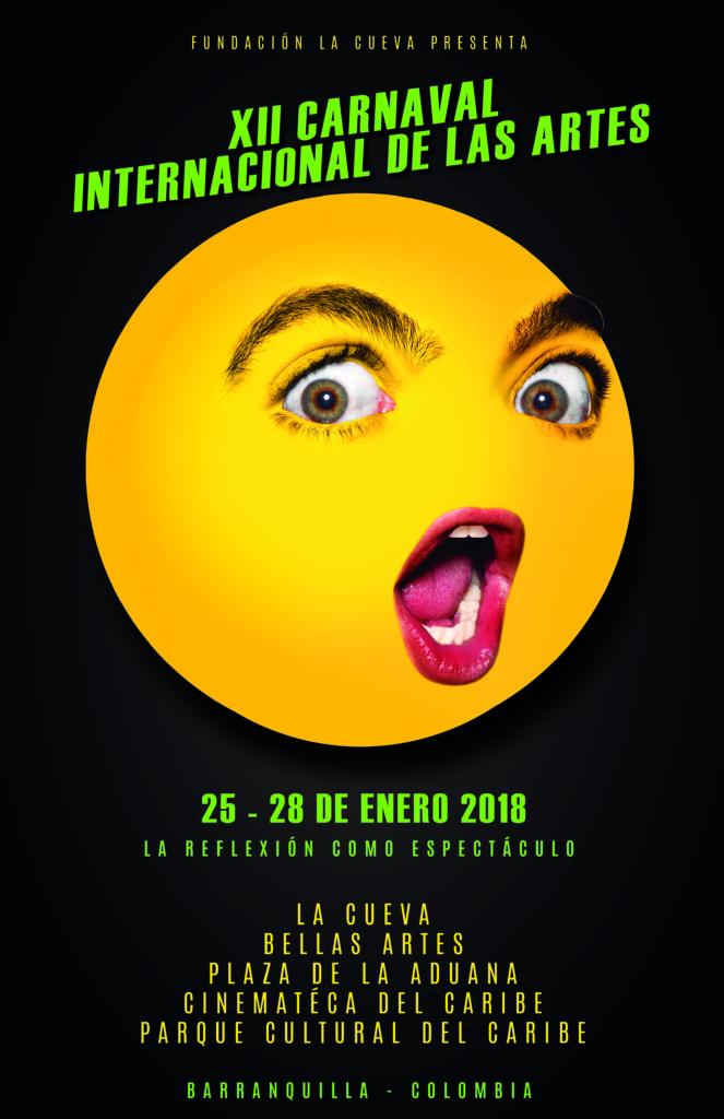 """Los """"Homoticones"""" de Juan Pablo Echeverri, Imagen oficial del Carnaval Internacional de las Artes 2018 - Afiche-propuesta-negro-HD-01-1-663x1024"""
