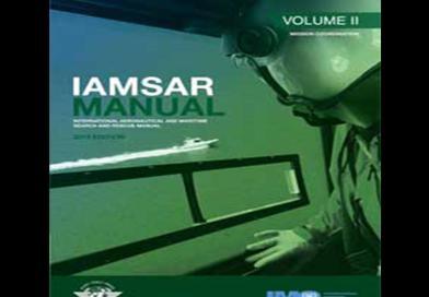 """IAMSAR. """"Manual Internacional de Búsqueda y Salvamento Aeronáutico y Marítimo""""."""