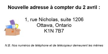 1, rue Nicholas, suite 1206, Ottawa (Ontario) K1N 7B7