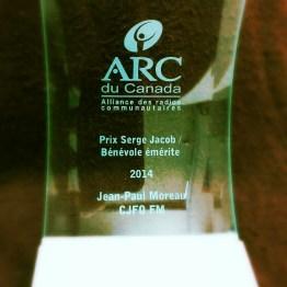 Prix Serge Jacob / Bénévole de l'année à Jean-Paul-Moreau de CJFO FM (Ottawa, On.)