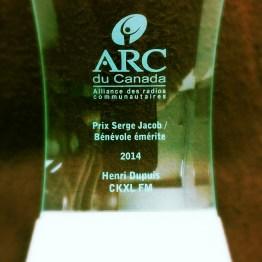 Prix Serge Jacob / Bénévole de l'année à Henri Dupuis de CKXL FM (Saint-Boniface, Man.)