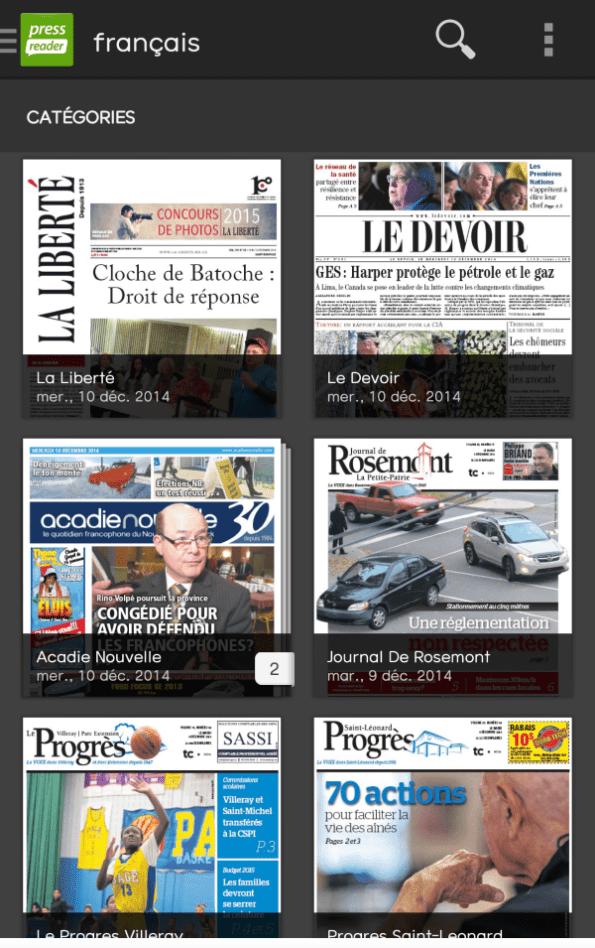 Journaux canadiens francophones dans PressReader