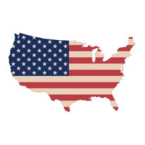 Carte des États-Unis avec le drapeau américain
