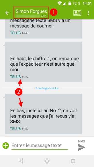 Démonstration d'un courriel vers le SMS