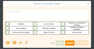 Fenêtre de publication Twitter
